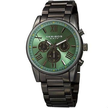Akribos XXIV Men's Swiss Quartz Multifunction Dual Time Green Bracelet Watch (Green)