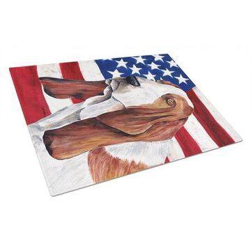 Caroline's Treasures USA American Flag with Basset Hound Glass Cutting Board Large