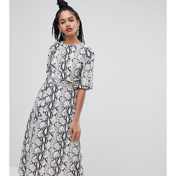 Miss Selfridge midi dress with metal trim in snake print-Gray