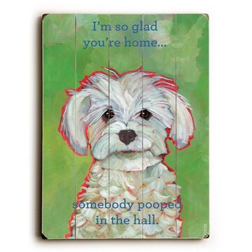 One Bella Casa 0004-3916-25 9 x 12 in. I Am So Glad You are Home Solid Wood Wall Decor by Ursula Dodge