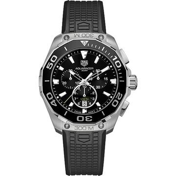 Tag Heuer Men's CAY111A.FT6041 'Aquaracer' Chronograph Black Rubber Watch (9 Inch - Stainless Steel - 300 Meters - Sapphire - Three Hand - Black -
