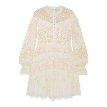 Needle & Thread - Ava Lace-trimmed Embellished Tulle Mini Dress - White