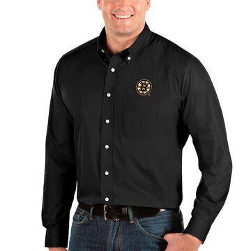 Boston Bruins Antigua Dynasty Button-Down Long Sleeve Shirt - Black