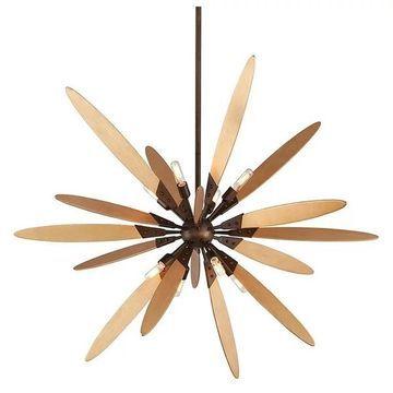 Dragonfly, Pendant, 8 Light, Bronze, Satin Leaf Finish