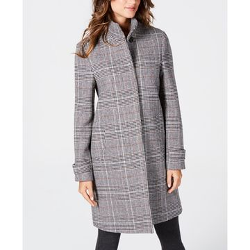 Stand-Collar Plaid Coat