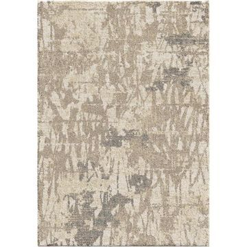 Orian Rugs Super Shag Abstract Canopy 5 x 8 Ivory Indoor Geometric Mid-Century Modern Area Rug in Blue
