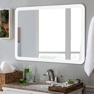 LED Wall-mounted Mirror Bathroom Makeup Illuminated Rounded Arc Corner W/Touch