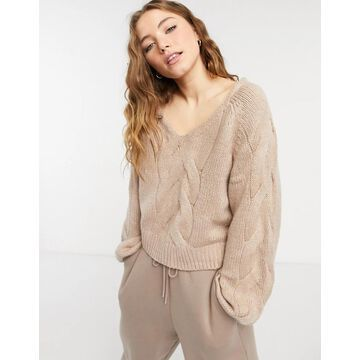 Abercrombie & Fitch shrunken bobble v-neck sweater in rose-Pink