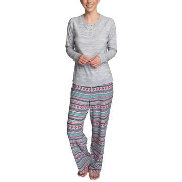Muk Luks Butter-Knit Henley Top Pajama Set