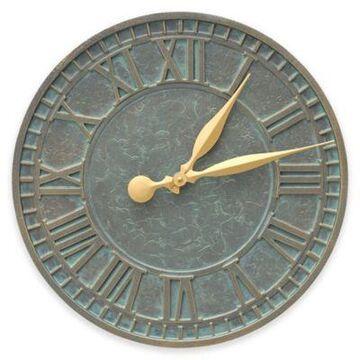 Whitehall Products 16-Inch Geneva Indoor/Outdoor Wall Clock in Bronze Verdigris