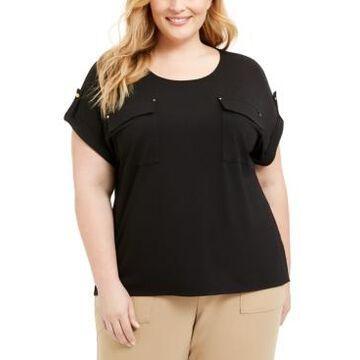Adrienne Vittadini Plus Size Patch-Pockets Top