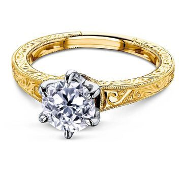 Annello by Kobelli 14k Gold 1 Carat 6-Prong Diamond Solitaire Vintage Engagement Ring