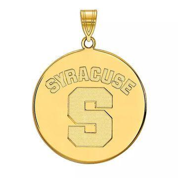 LogoArt Syracuse Orange Sterling Silver 14K Gold Plated XL Disc Pendant, Women's, Size: 32 mm