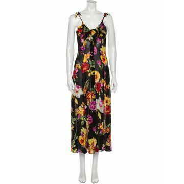 Floral Print Long Dress Black