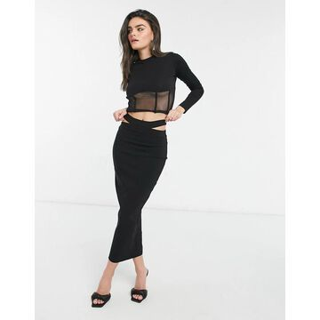 Vesper coordinating fitted maxi skirt with cut out detail in black