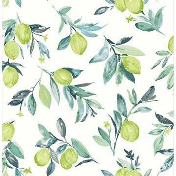 Brewster Limon Green Fruit Wallpaper