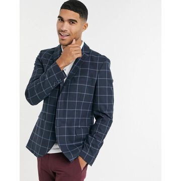 Selected Homme suit jacket in slim-fit navy windowpane plaid