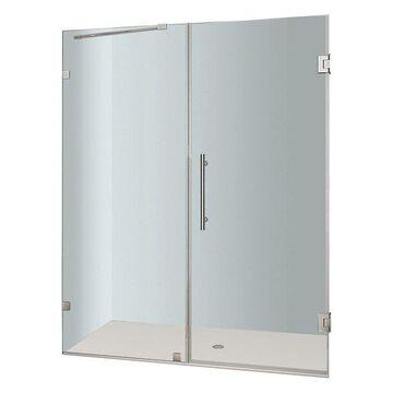 Aston Nautis Completely Frameless Hinged Shower Door, Stainless Steel, 64