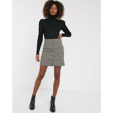 Y.A.S check button through skirt-Brown