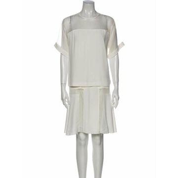 Crew Neck Knee-Length Dress White