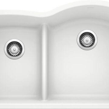 BLANCO Diamond Undermount 32-in x 20.875-in White Double Offset Bowl Kitchen Sink   441603