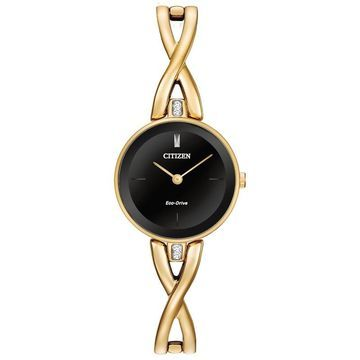 Ladies' Citizen Eco-Drive Silhouette Crystal Gold-Tone Bangle Watch with Black Dial (Model: EX1422-54E)