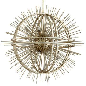 "Cyan Design 06490 Saturn Burst 8 Light 35"" Wide Abstract Sputnik Chandelier Silver Leaf Indoor Lighting Chandeliers"