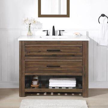 allen + roth Norris 42-in Rustic Almond Latte Undermount Single Sink Bathroom Vanity with White Engineered Stone Top in Brown   NORRIS-42RAL