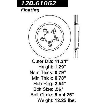 StopTech 127.61062R StopTech Sport Rotors; Drilled And Slotted; Rear Right;11.34 in. Dia.; 1.28 in. Height;