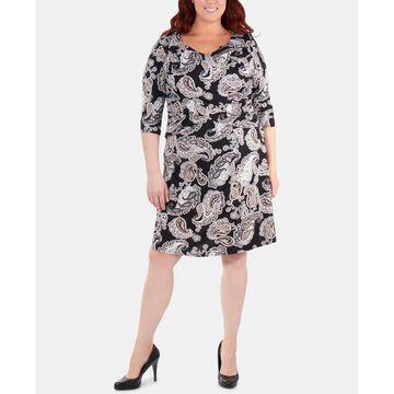 Plus Size Paisley Ruched Crisscross Dress