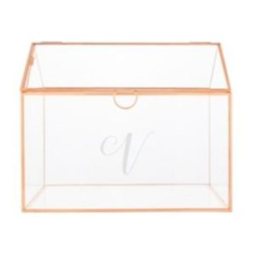 Cathy's Concepts Personalized Rose Gold Wedding Glass Terrarium Reception Gift Card Holder