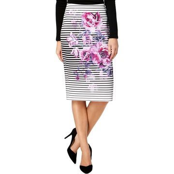 ECI Womens Striped Knee-Length Pencil Skirt