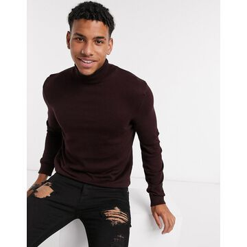 New Look roll neck sweater in purple-Red