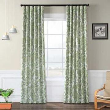 Exclusive Fabrics Tea Time China Blue Blackout Curtain Panel Pair (50 x 120 - Tea Time Green)