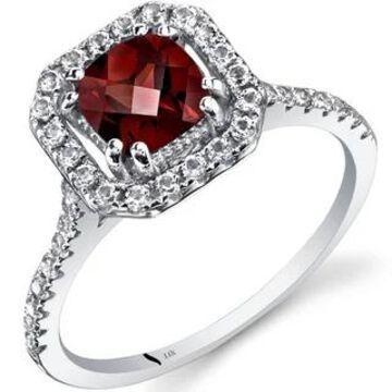 Oravo 14k White Gold Cushion Gemstone Halo Ring (Orange - Garnet - 7)
