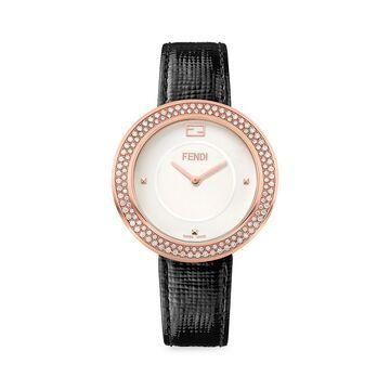 Fendi My Way Rose Goldtone Stainless Steel Diamond Leather-Strap Watch