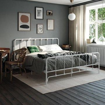 Mainstays Farmhouse Metal Bed, King - White