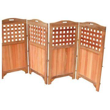 Vifah Outdoor and Indoor Hardwood Teak Privacy Screen