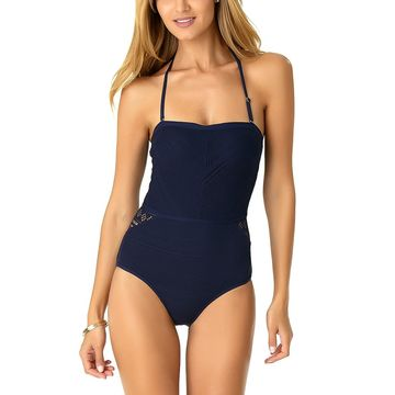 Anne Cole Women's One Piece Swimsuits NAVY - Navy Crochet Tie-Back One-Piece - Women