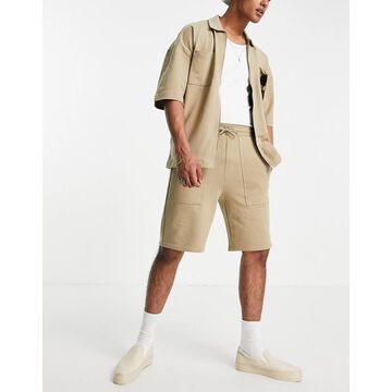 Only & Sons organic cotton jersey shorts in beige - part of a set-Neutral