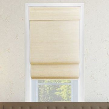 Chicology Privacy & Natural Woven Cordless Double Layered Roman Shades