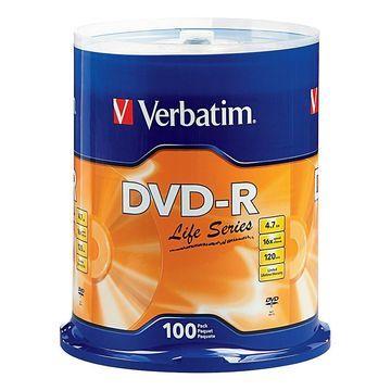 Verbatim Life Series DVD-R Disc Spindle, Pack Of 100