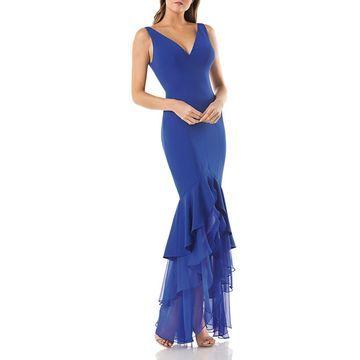 Carmen Marc Valvo Womens Hi-Low Mermaid Evening Dress