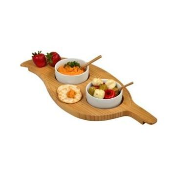 Picnic at Ascot Bamboo Leaf Shaped Serving Platter with 2 Ceramic Bowls