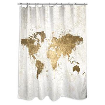Oliver Gal 'Mapamundi White Gold' Shower Curtain