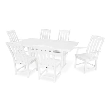 Trex Outdoor Furniture Yacht Club 7-Piece White Frame Dining Patio Dining Set with Dining