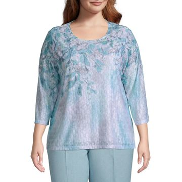 Versailles Alfred Dunner Floral Yoke Top - Plus