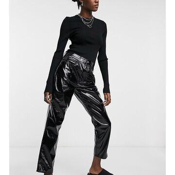 Reclaimed Vintage inspired The '91 mom jean in black patent faux leather