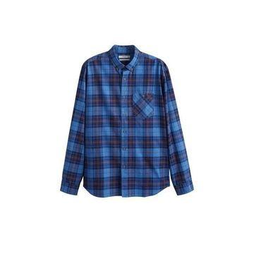 MANGO MAN Regular-fit check cotton shirt