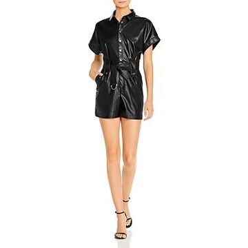 Bardot Belted Faux Leather Romper